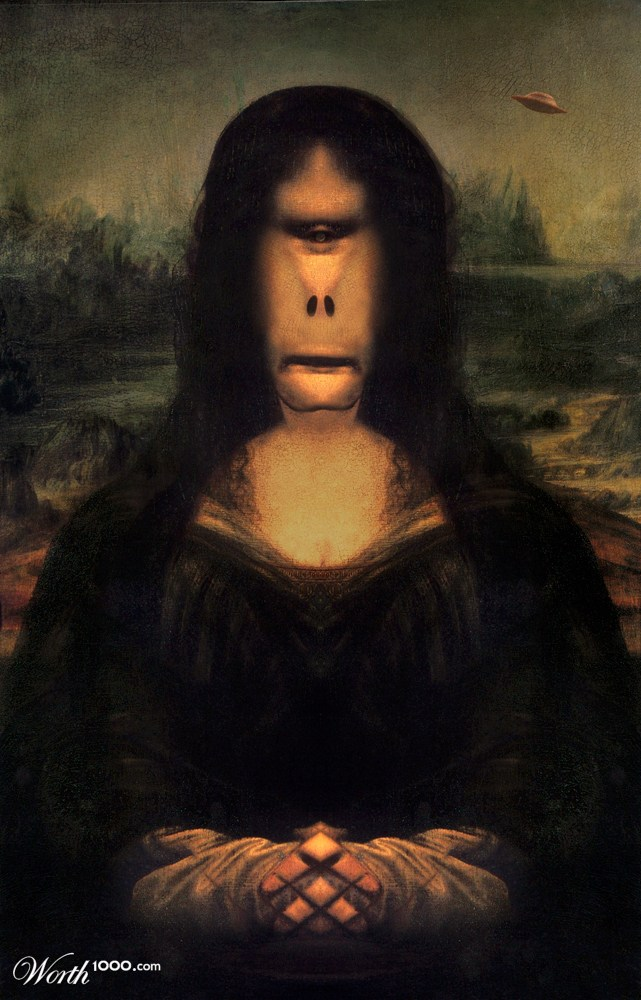 Mona Lisa in alien world - Worth1000 Contests Da Vinci Paintings Mirrored