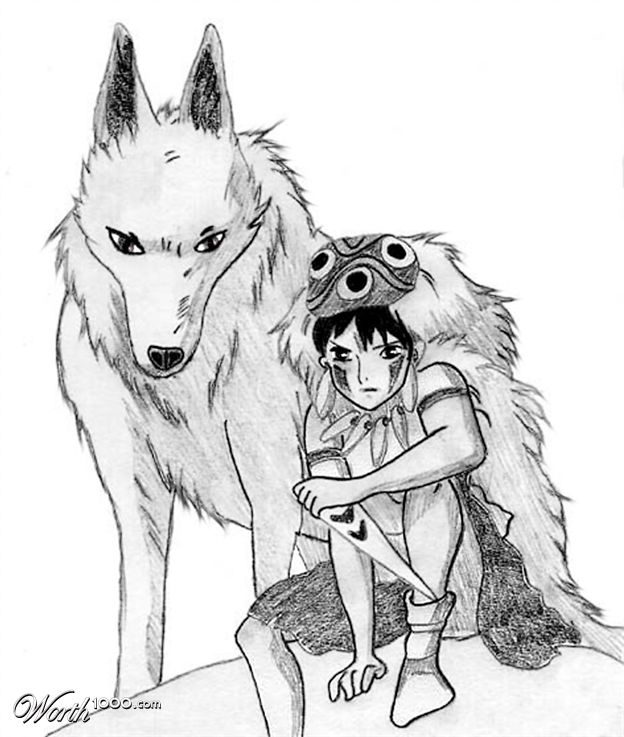 princess mononoke wolf drawing