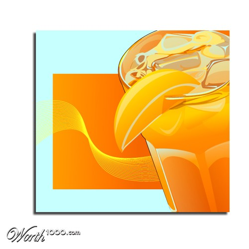Orange Juice Drawing Iced Fresh Orange Juice