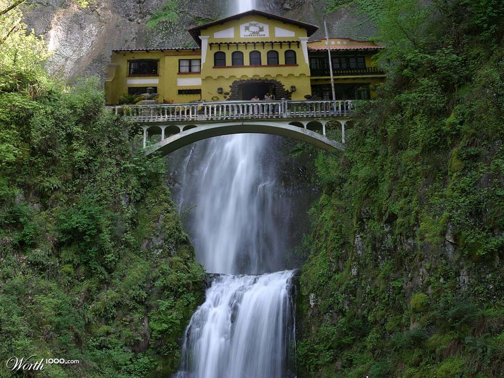 House upon waterfall full free hd wallpapers for House built on waterfall