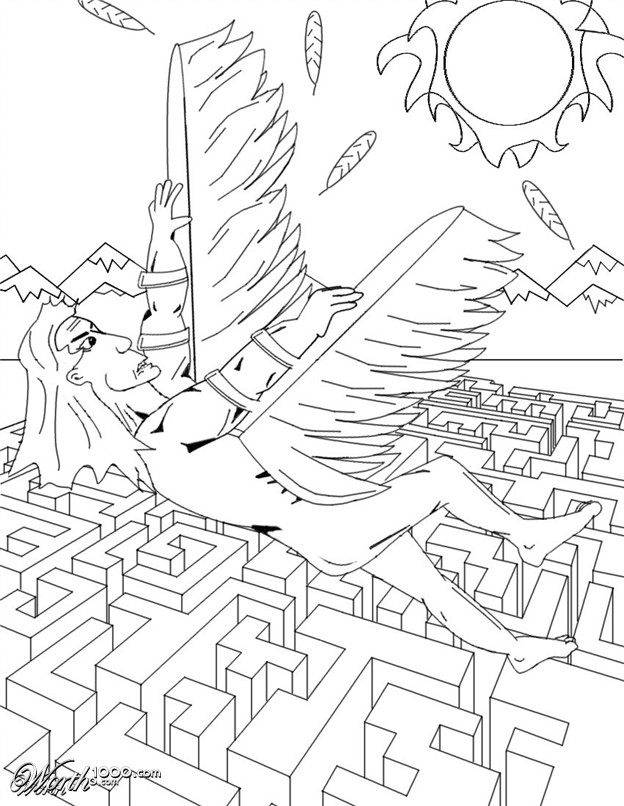 Icarus And Daedulus - Free Coloring Pages